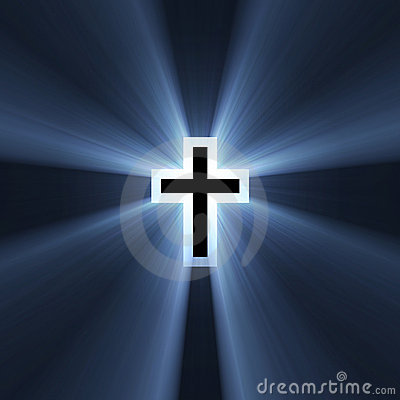 Double cross symbol blue light flare