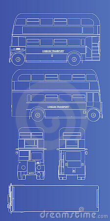 Double decker blueprint silhouette