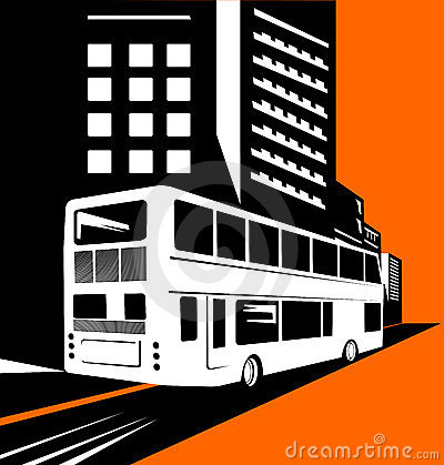 Double decker bus with buildin