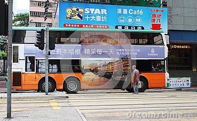 Double-decker bus in Hong Kong. Editorial Stock Photo