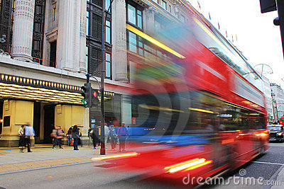 Double Decker Bus outside Selfridges in London Editorial Photo