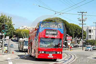 Double Decker bus in SFO Editorial Photo