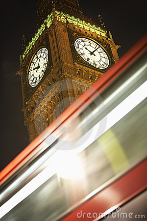 Double Decker Bus Speeding Past Big Ben