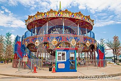 Double decker carousel at children amusement park