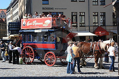 Double Decker horse carriage ride Dresden Editorial Stock Image