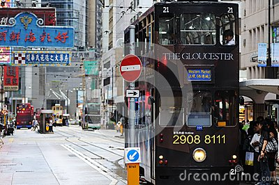 Double-decker tram in Hong Kong. Editorial Photo