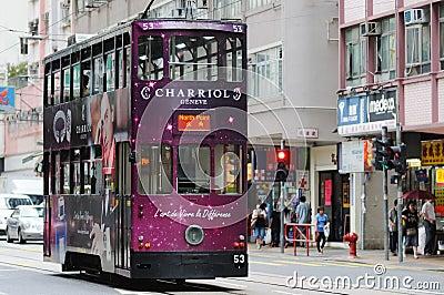 Double-decker tram in Hong Kong. Editorial Photo