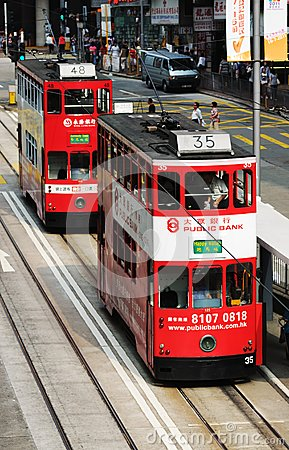 Double-decker tram in Hong Kong. Editorial Photography