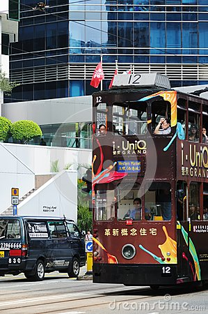 Double-decker tram in Hong Kong. Editorial Image