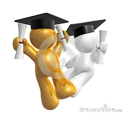 Double degree graduation icon figure