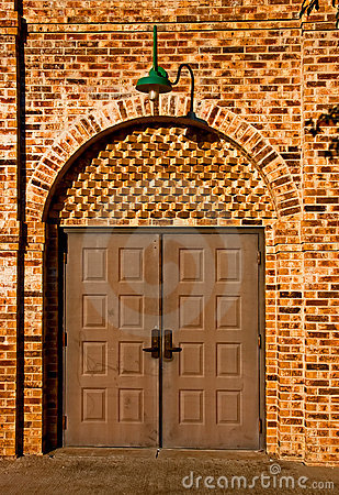 Free Double Doors On Brick Wall Royalty Free Stock Image - 8065786