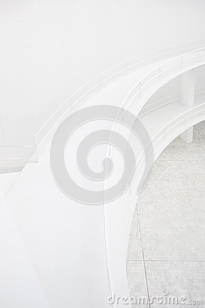 Double elevated walkway, white architecture