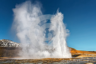 Double Eruption of Strokkur Geyser