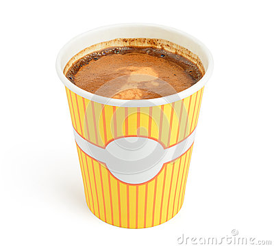 Double espresso in a disposable cup