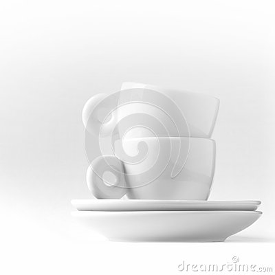 Double espresso metaphor with two white cups