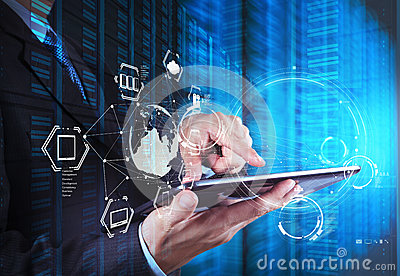 Double exposure of businessman shows modern technology Stock Photo