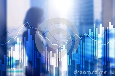 Double exposure Financial graphs and diagrams. Business, economics and investment concept Stock Photo