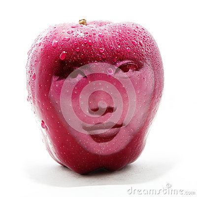 Double exposure image of red apple