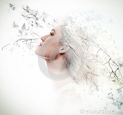 Free Double Exposure Of Young Woman And Dogwood Flowers Stock Images - 88676824