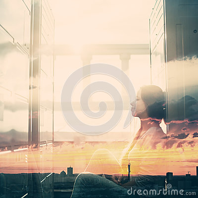 Free Double Exposure Portrait Of Young Woman Stock Images - 67060944