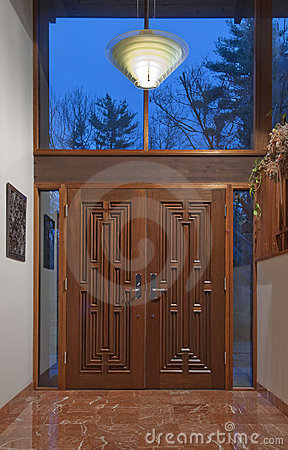 Double front doors in foyer