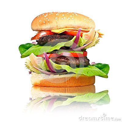 Double hamburger with grilled beef