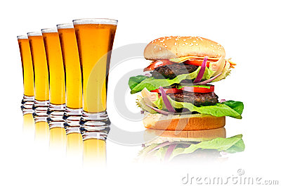 Double hamburger and line of beers