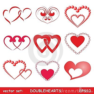 Double hearts set