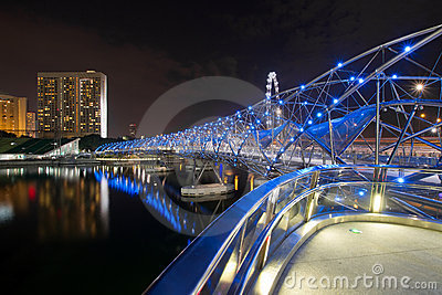 Double Helix Bridge in Singapore at Night
