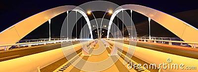 Double lane suspension bridge - night scene