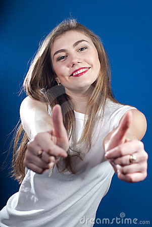 Double Okay, Young woman with thumbs up