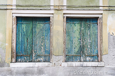 Double old wooden shutters