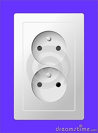 double prise lectrique blanche image stock image 31314441. Black Bedroom Furniture Sets. Home Design Ideas