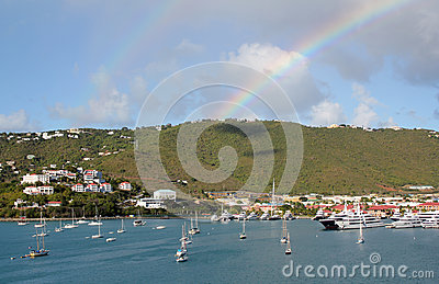 Double rainbow over Charlotte Amilee, St. Thomas, USVI