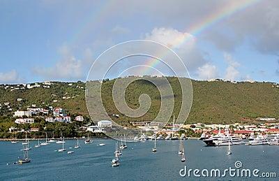 Double rainbow over Charlotte Amilee, St. Thomas, USVI