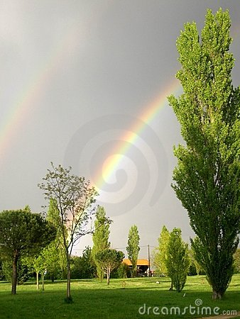 Double rainbows in the sky
