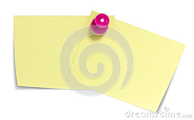 Double sticky note with pink pin, and shadow
