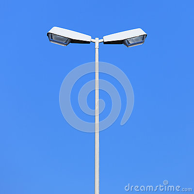 Free Double Street Lamp Post On Blue Sky Background Royalty Free Stock Photography - 27891707