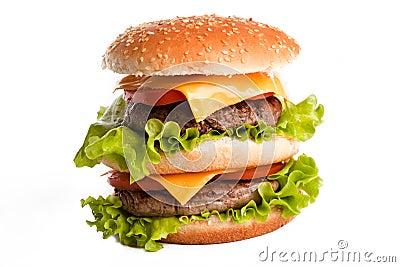 Double tasty hamburger on white