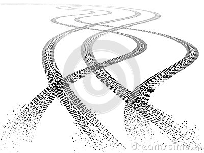 Double Vector Grunge Tire Tracks Vector Illustration