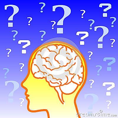 Doubt brain icon