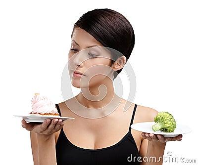 Doubting between cake and broccoli