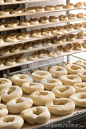 Free Dough Prepared In Industrial Bagels Factory Royalty Free Stock Images - 99684609