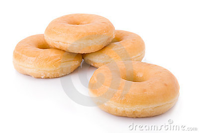 Doughnuts or donuts isolated on white