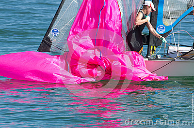 Dousing the spinnaker, 49erFX Editorial Photo