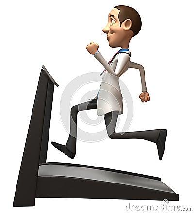 Doutor em uma escada rolante