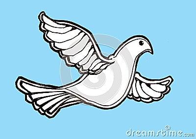 Dove in flight blue