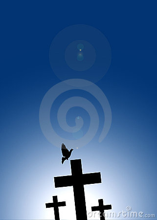 Dove flying on jesus cross