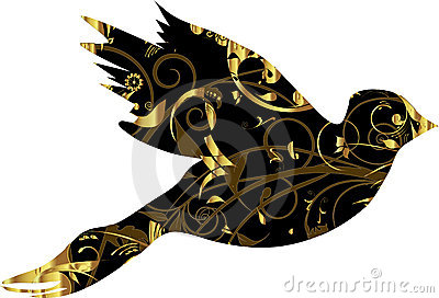 Dove with gold ornament