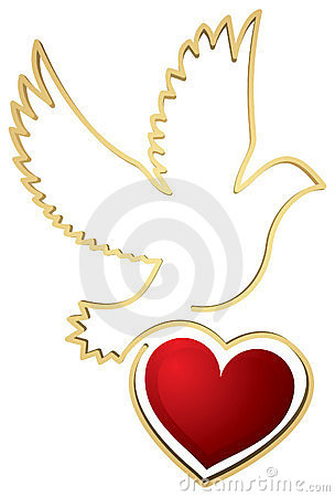 Dove with Heart Shape